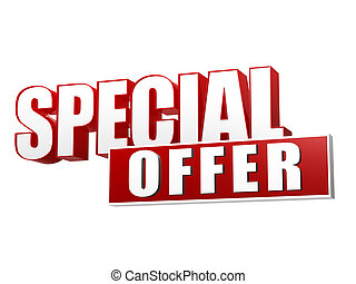 special offer in 3d letters and block - special offer text -...