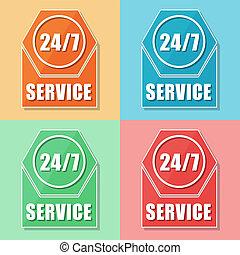 24/7 service, four colors web icons, flat design, business...