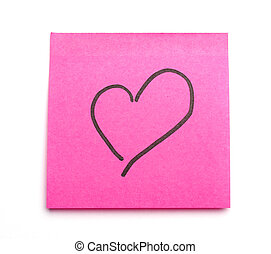 Postit heart - Post it note with heart symbol as concept for...