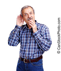 Senior man listening to rumors - Senior man listening to...