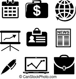 Set of black and white business icons depicting money,...