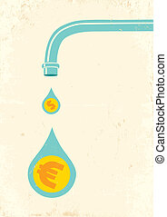 Faucet and money - Illustration of faucet and money