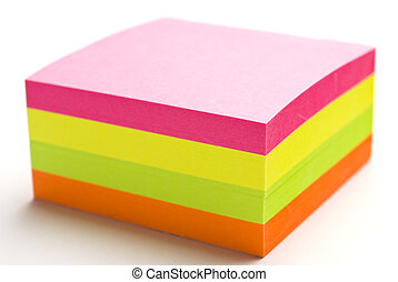 Post it block - Multi colored post it note block with narrow...