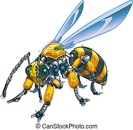 Robot Wasp Vector Illustration - Vector cartoon clip art...