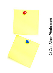 2 Post it notes with drawing pins. Isolated on white.