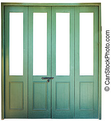 green wood accordion doorisolate on white background