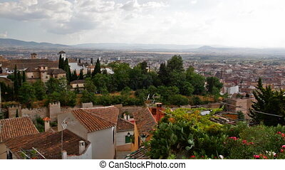 View of the Arab quarter in Granada from a wall of fortress...