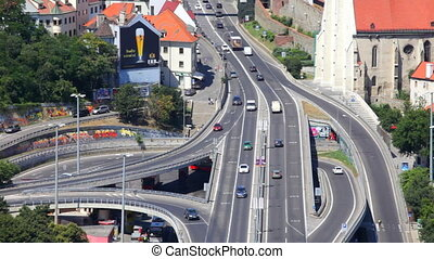 Auto junction and day traffic in Bratislava, Slovakia - Red...