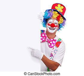 clown with vertical blank - Happy clown holding the blank...