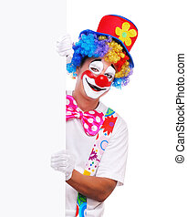 clown with blank board - Happy clown holding the blank board...