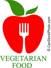 Vegetarian Food icon with a symbolic healthy ripe red apple...