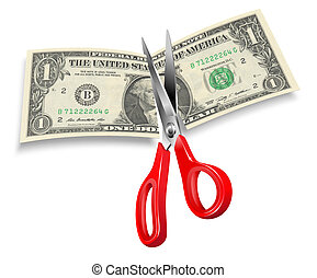 Dollar Cut - Concept illustrating prices or budget cuts with...