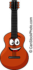 Happy wooden acoustic guitar - Cartoon happy wooden guitar...