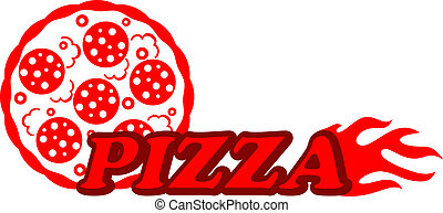 Red hot pizza label - Pizzeria icon depicting a red hot...