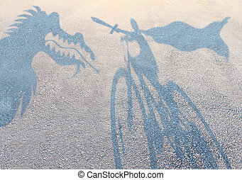 Children imagination concept with cast shadows on a gravel...