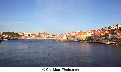 Summer view on Porto, Portugal - Enbankment of Porto in...