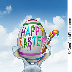 Happy Easter Greeting - Happy Easter greeting painted on a...