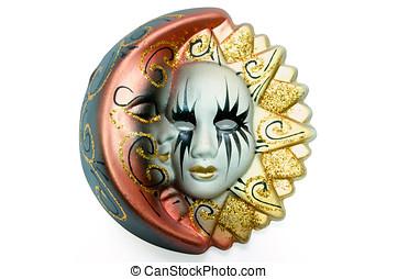 veneciano, máscara, sol, luna