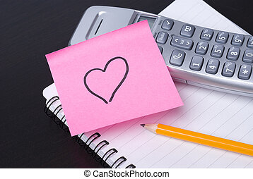 Phone and pink HEART postit