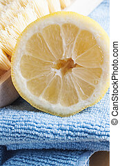 Natural Cleaning with Lemon - Close up of half a lemon,...