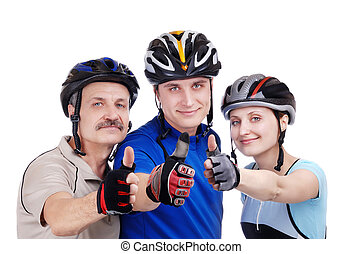 Happy family cyclists showing thumbs up