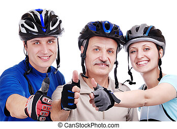 Happy cyclists family showing thumbs up isolated on white