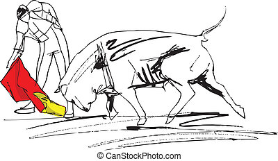 bullfight illustration