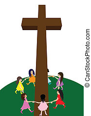 Children circle around a cross - A group of children circle...