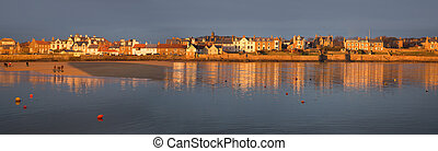 Panorama of sunlit harbor in Elie, Fife, Scotland, UK on New...