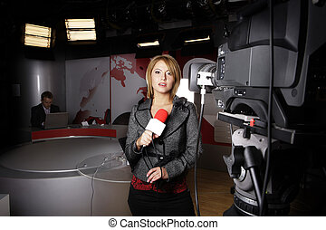 Television news reporter - attractive woman reporter in...