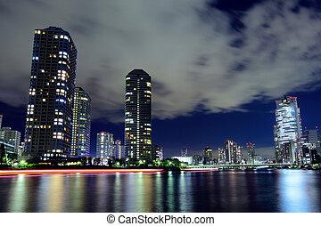 Tsukishima in Tokyo at night