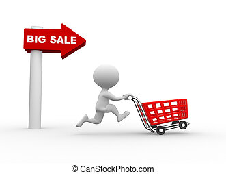 Big sale - 3d people - men, person and shooping car. Concept...