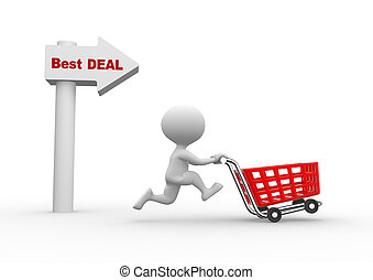 Best deal - 3d people - men, person with shopping car Best...