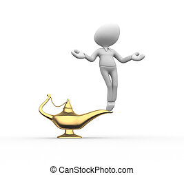 Genie of the lamp - 3d people - men, person genie of the...
