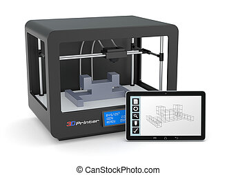3D printing - one 3d printer with a tablet pc and a cad...