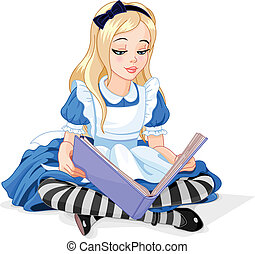 Alice reading a book - Alice in Wonderland reading a book