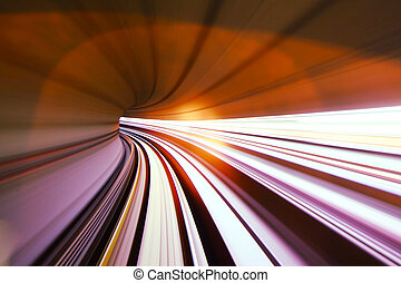 Fast train passing in tunnel