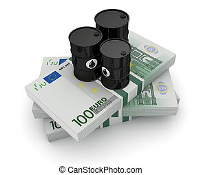 concept of oil market - top view of a stack of euros with...