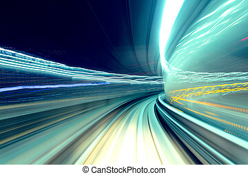 Fast train passing tunnel