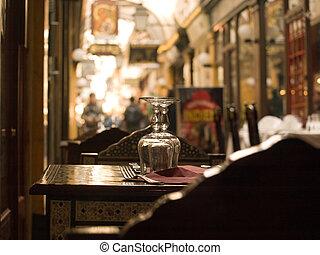 Sidewalk restaurant in Paris - Restaurant with tables set...