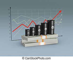 concept of oil market - stacks of banknotes with a row of...