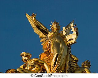 ópera, dorado, cima,  garnier, Escultura