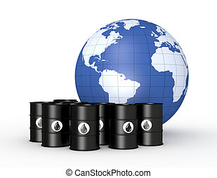 concept of oil market - a lot of oil barrels with a world...