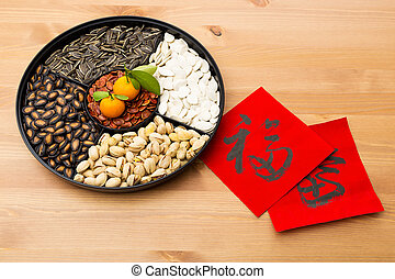 Traditional Lunar new year snack tray and chinese...