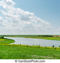 river with green grass and cloudy day