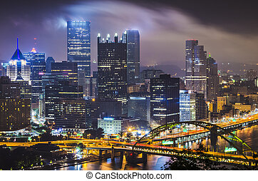 Pittsburgh, Pennsylvania, USA with low clouds.