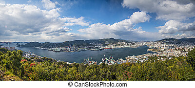 Nagasaki, Japan at Nagasaki Bay