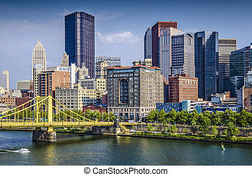 Pittsburgh, Pennsylvania, USA daytime downtown scene over...