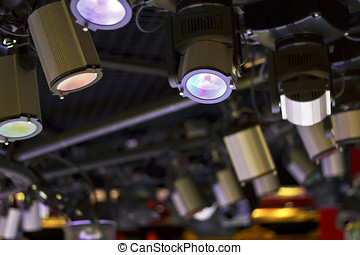 Powerful projectors in modern night club - A stage light...