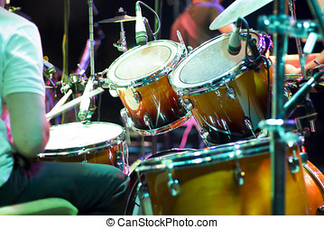 Drum kit on the stage  - Music Instruments, Drums on stage.
